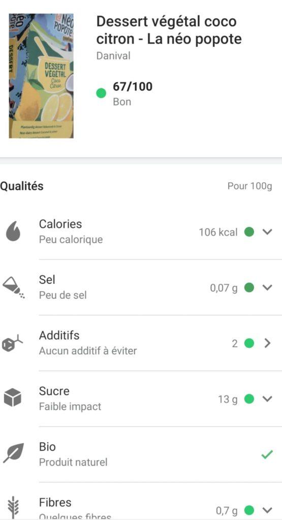 desserts végétaux lait de coco sans sucre - Yuka